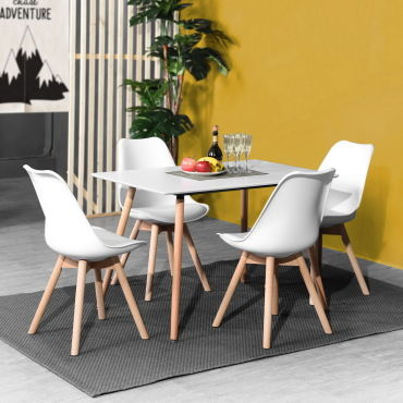 Table A Manger Carree Scandinave Blanche Bois Vente De
