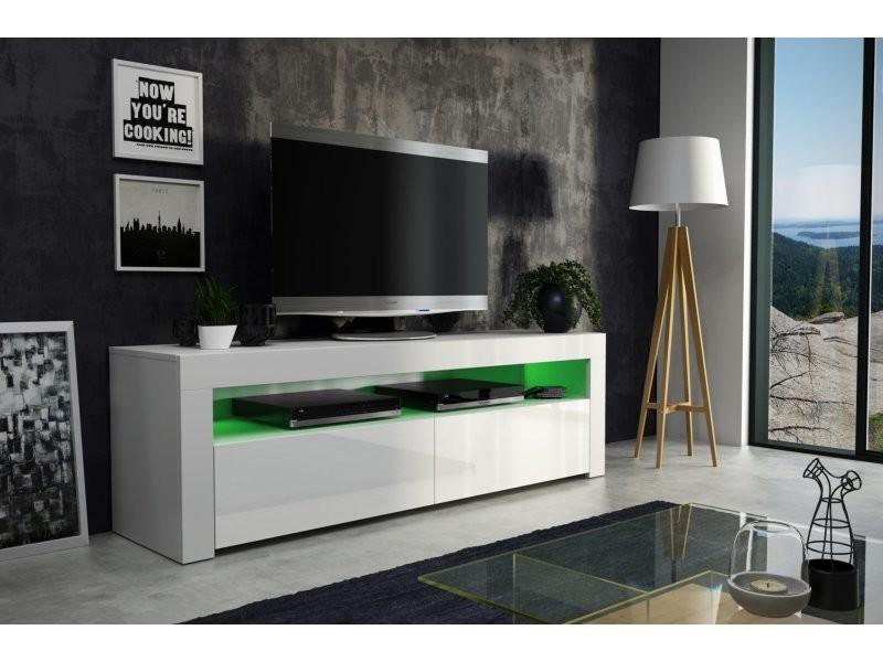 meuble tv savelli led blanc mat et