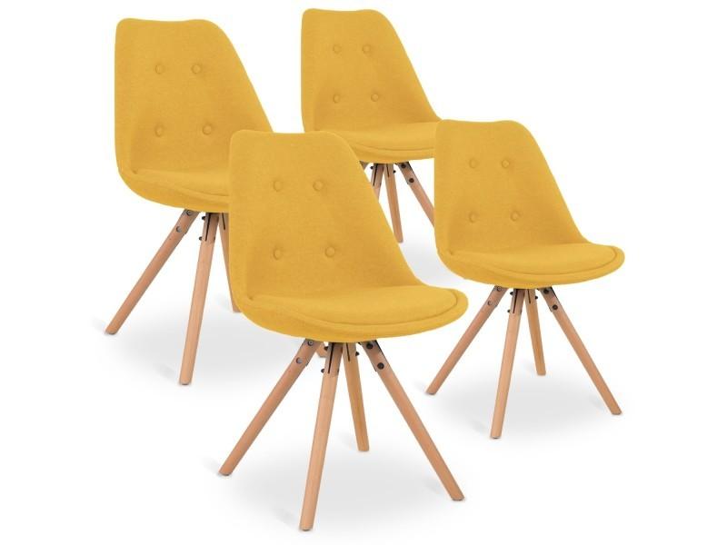 4 chaises scandinaves frida tissu jaune
