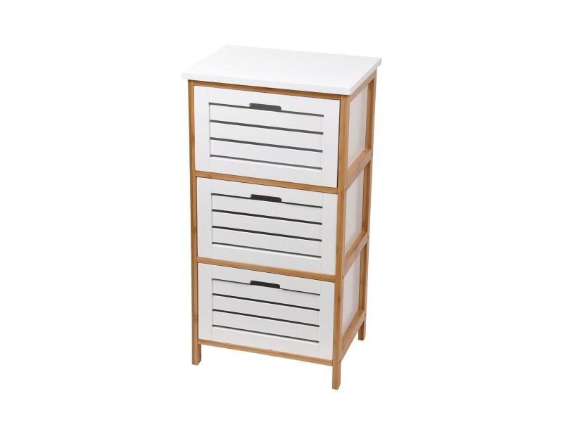 meuble bas 3 tiroirs bambou blanc
