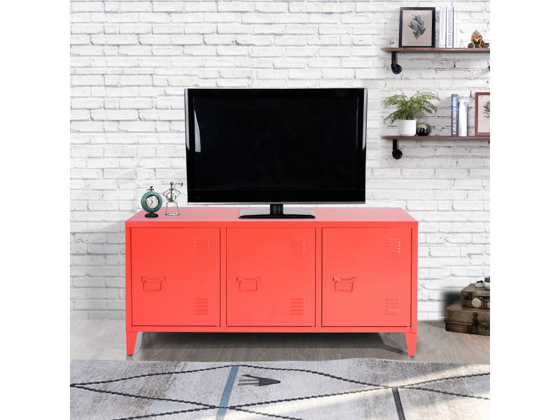 meuble tv industriel metal 3 portes et