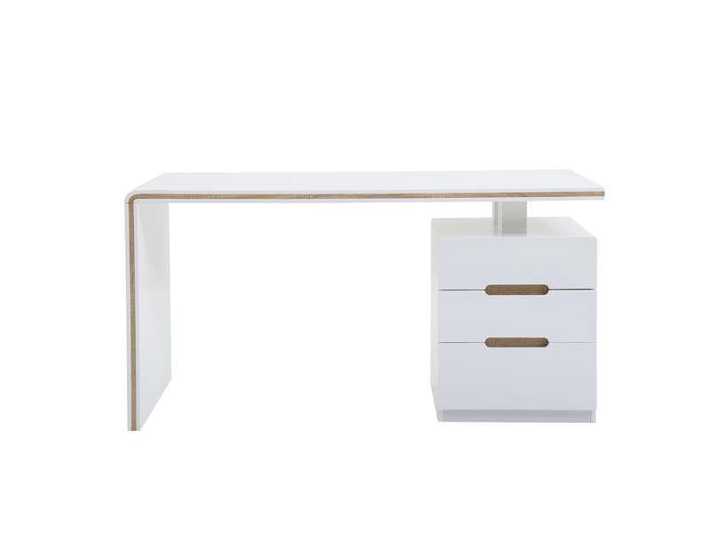 bureau 3 tiroirs argos coloris blanc