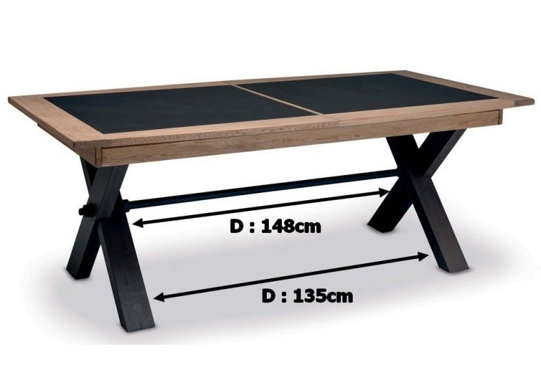 sarah table pieds x en 200cm en bois avec 2 allonges bois