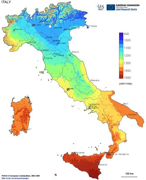 cartina solare Italia