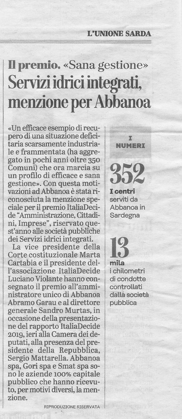 Articolo L'Unione Sarda del 26/03/2019