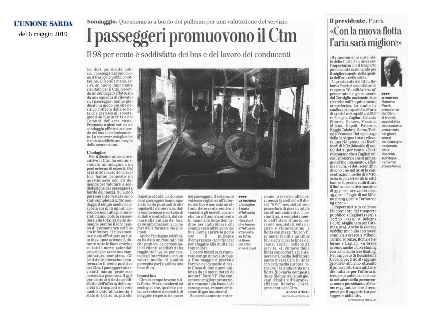 Articolo su soddisfazione utenti CTM L'Unione Sarda 06/05/2019