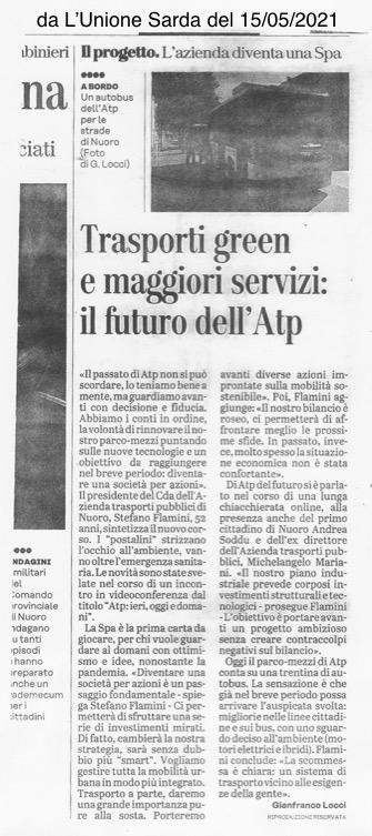 Articolo Unione Sarda sabato 15 maggio 2021 ATP Nuoro diventa Spa