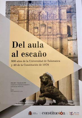 Cartel de la Exposición 'Del aula al escaño' 800 años de la Universidad de Salamanca y 40 de la Constitución de 1978