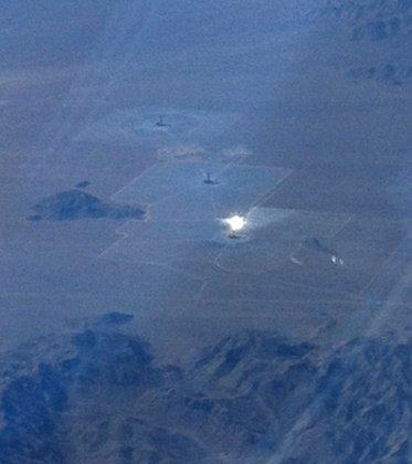A solar farm seen from an airplane
