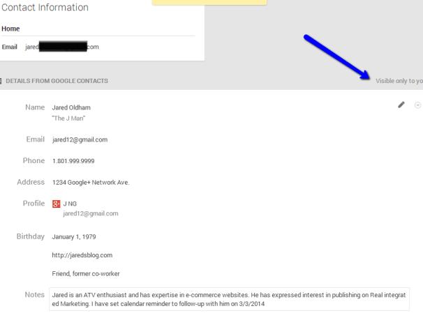 Google Plus - Saved User Profile Details