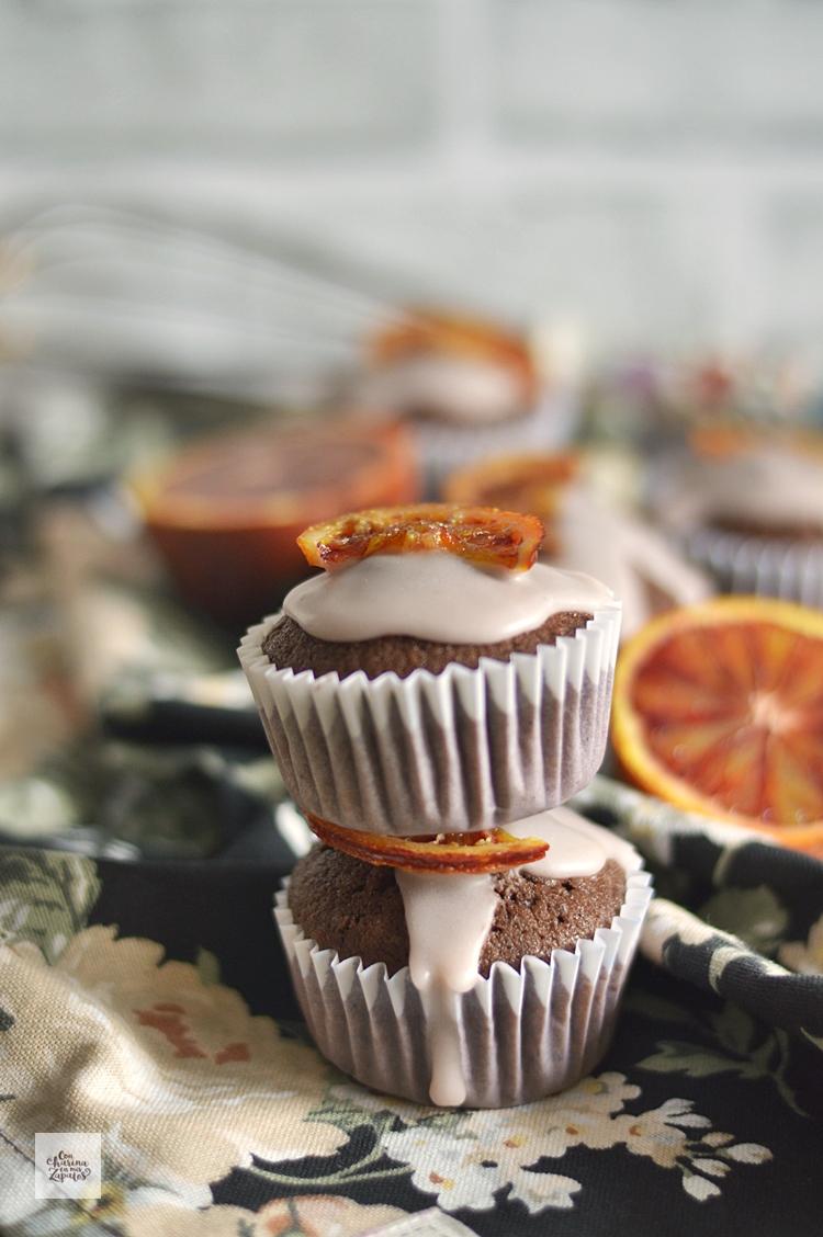 Magdalenas de Chocolate y Naranja Sanguina
