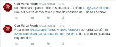 Tuit puja La Ceja y Rionegro