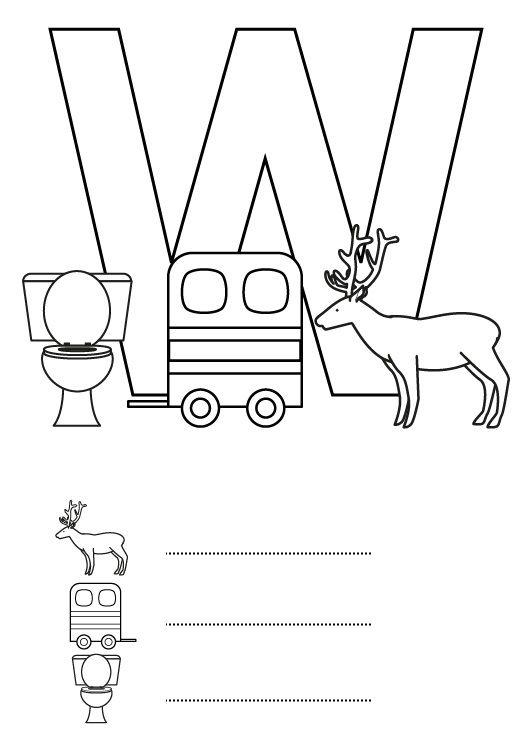 Dibujos Con W Para Ninos Alfabeto Letra W Dibujos Animados