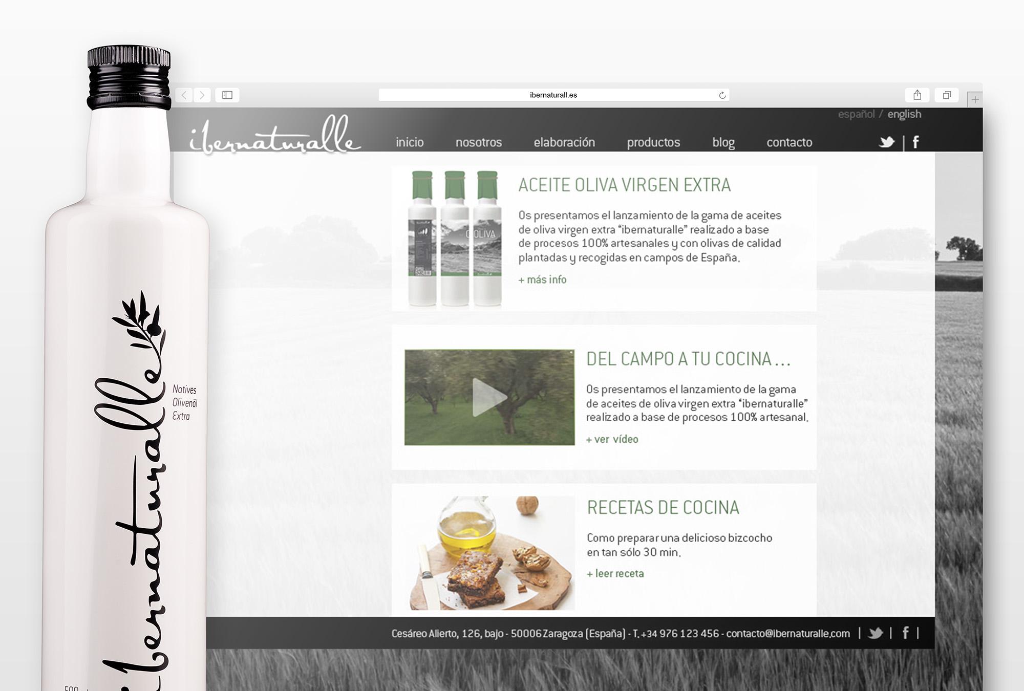 Web y Packaging - Ibernaturalle Aceite de Oliva Virgen Extra - Diseño