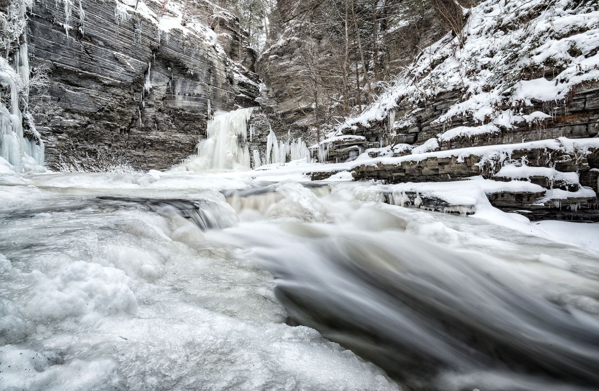 MontourFalls in Finger Lakes Area (New York - EEUU) in winter.