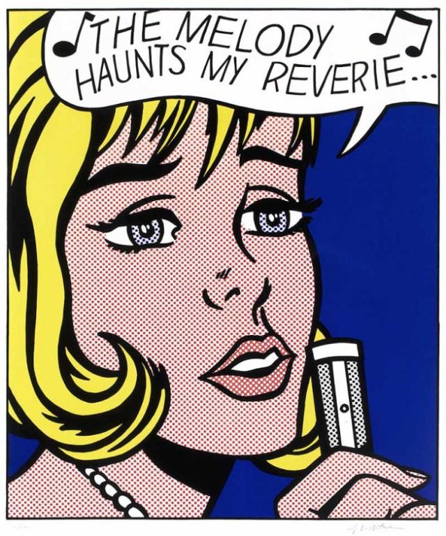 Roy Lichtenstein, Reverie, 1965 Sérigraphie sur papier vélin blanc lisse 76.5 x 60.9 cm Collection Lex Harding, présenté au BAM de Mons dans l'exposition « Visions multiples » © Estate of Roy Lichtenstein / SABAM 2020