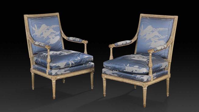 Ill: Paire de fauteuils à dossier plat, époque Louis XVI, en hêtre peint, H.96 cm, estimée 4000/6000 €, mise en vente à Drouot le 29 janvier par Ader - Nordmann & Dominique ©Ader