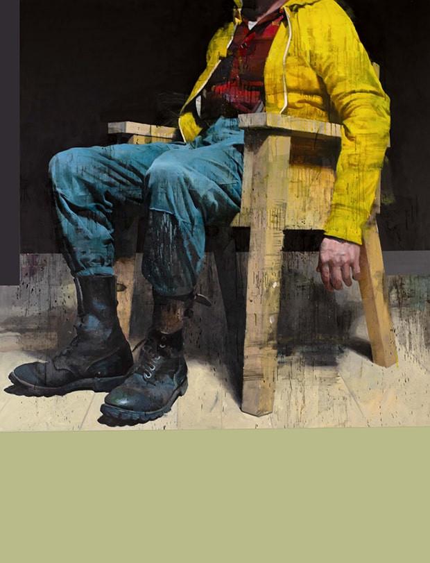 François Bard, Le Visiteur (in progress), 2021, huile sur papier, 195 x 150 cm ©Galerie Olivier Waltman, Paris