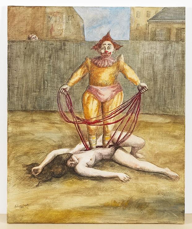 Roland Topor, Le Clown Tant Pis, huile et encre sur toile, 1974, 61 x 50 cm, détail ©F. Gousset/Loeve&Co, Paris