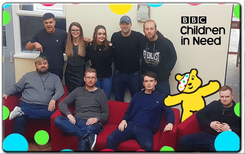A staff photo of some of the members of the team, taken for Children In Need.