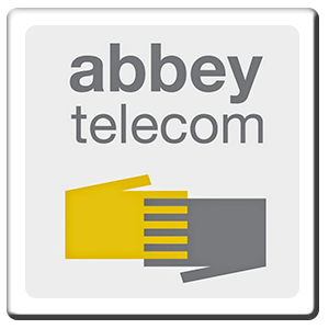 A square tile bearing the company logo of Abbey Telecom