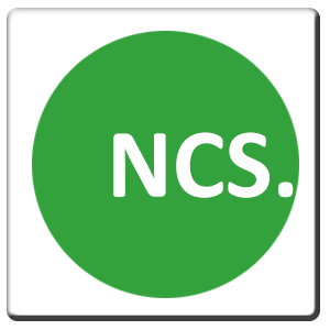 A square tile bearing the company logo of NCS