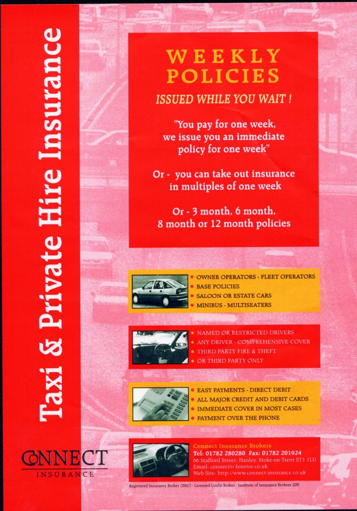 A flyer advertising weekly insurance taxi policies