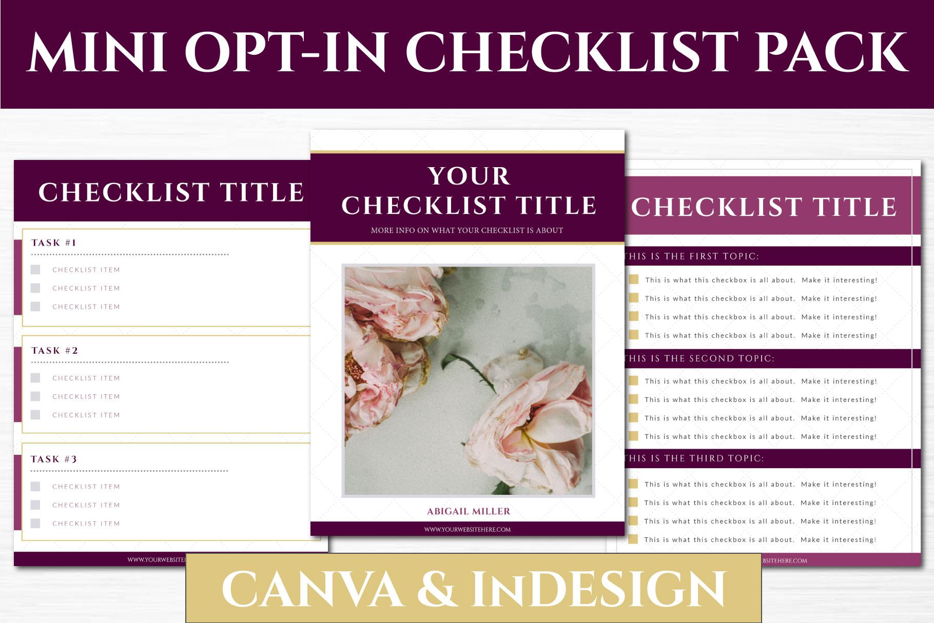 Mini Opt In Freebie Checklist Pack