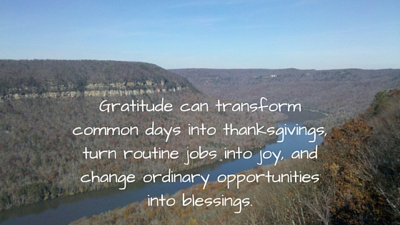 Gratitude can transform common days into thanksgivings, turn routine jobs into joy, and change ordinary opportunities into blessings.