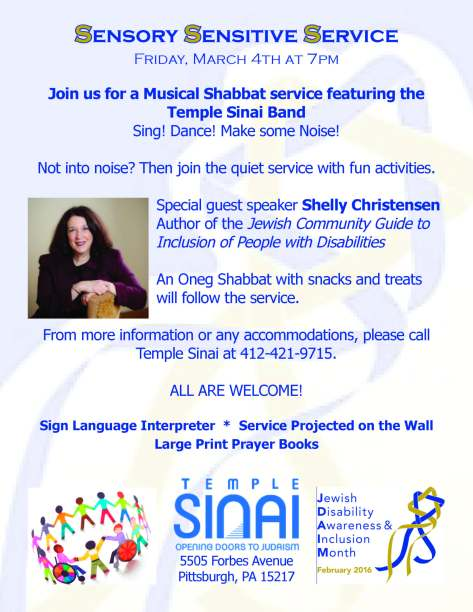 Flyer displayed, which lists the event details for the Sensory-Sensitive Service at Temple Sinai.