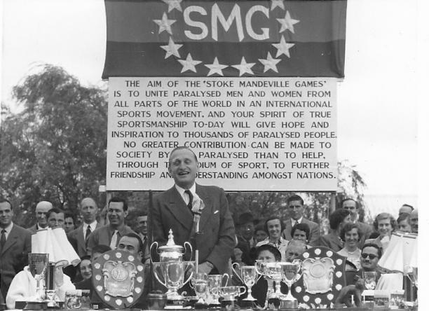 Presentation of the trophies for early Stoke Mandeville Games