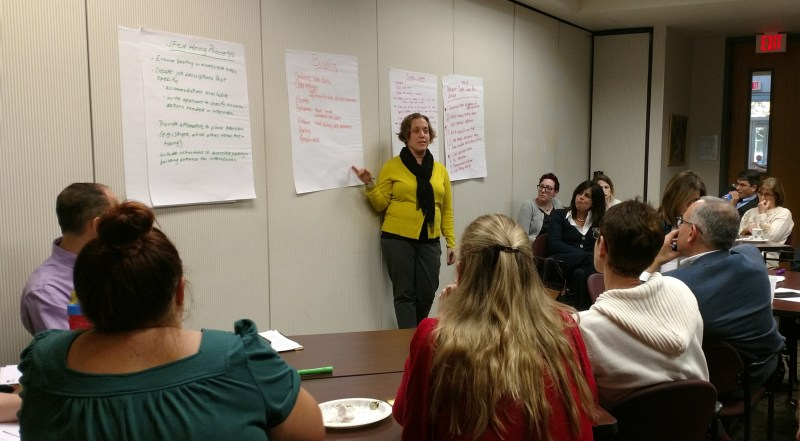 Elana Naftalin-Kelman leading a group discussion on inclusion of individuals with disabilities at the Jewish Federation of Greater Pittsburgh