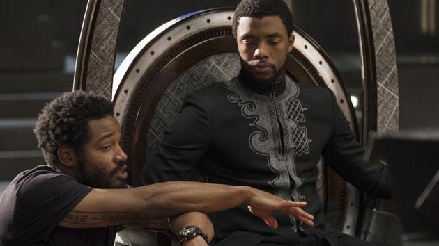 "L-R: Ryan Coogler and Chadwick Boseman on the set of ""Black Panther""; Marvel/Disney"