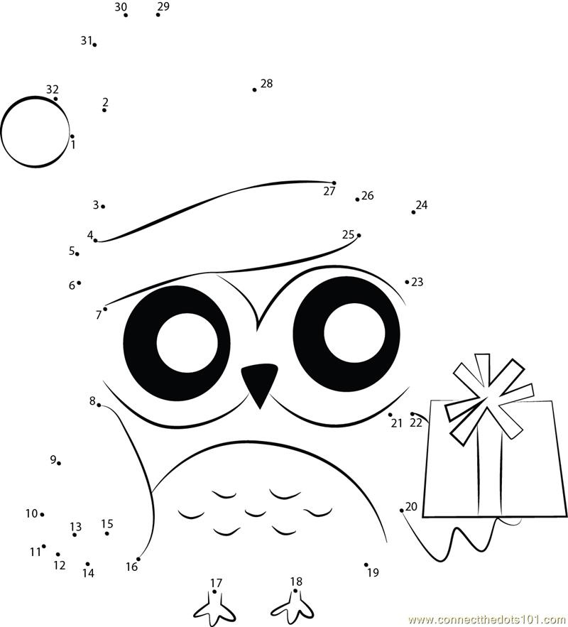 Merry Xmas Owl Dot To Dot Printable Worksheet Connect