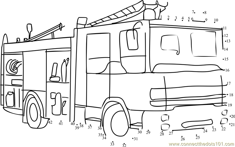 Fire Rescue Vehicle Dot To Dot Printable Worksheet