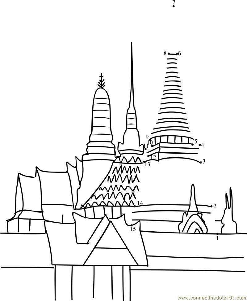 Bangkok Grand Palace Stupa Dot To Dot Printable Worksheet