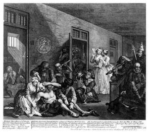William Hogarth, The Rake's Progress, Il manicomio