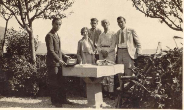 Rosario Scalero, Gian Carlo Menotti, Samuel Barber, Nino Rota e un'allieva a Montestrutto