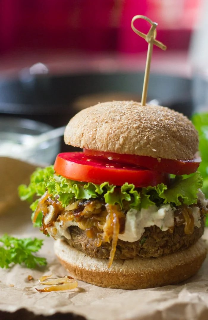 Vegan French Onion Burgers with Herbed Cashew Cheese