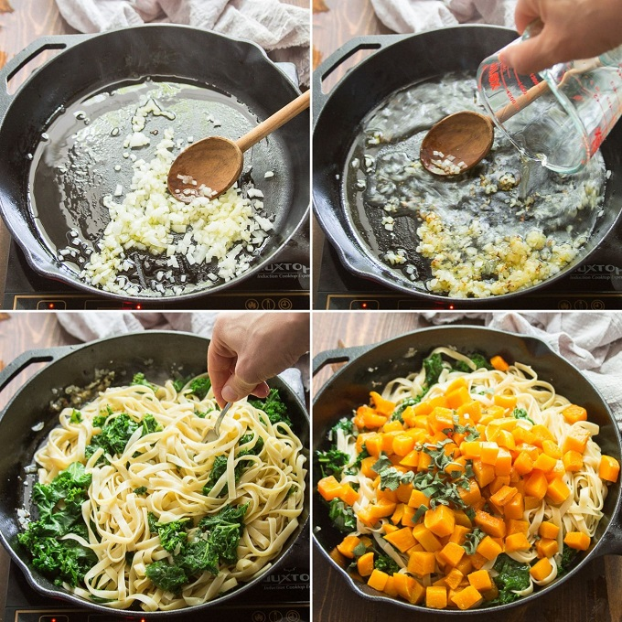 Collage Showing Steps for Making Butternut Squash Pasta: Cook Onions and Garlic, Add Wine, Sauté Pasta and Kale, and Add Roasted Butternut Squash