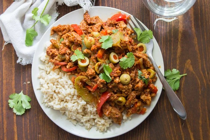 Vegan Ropa Vieja on a Plate with Rice and a Fork