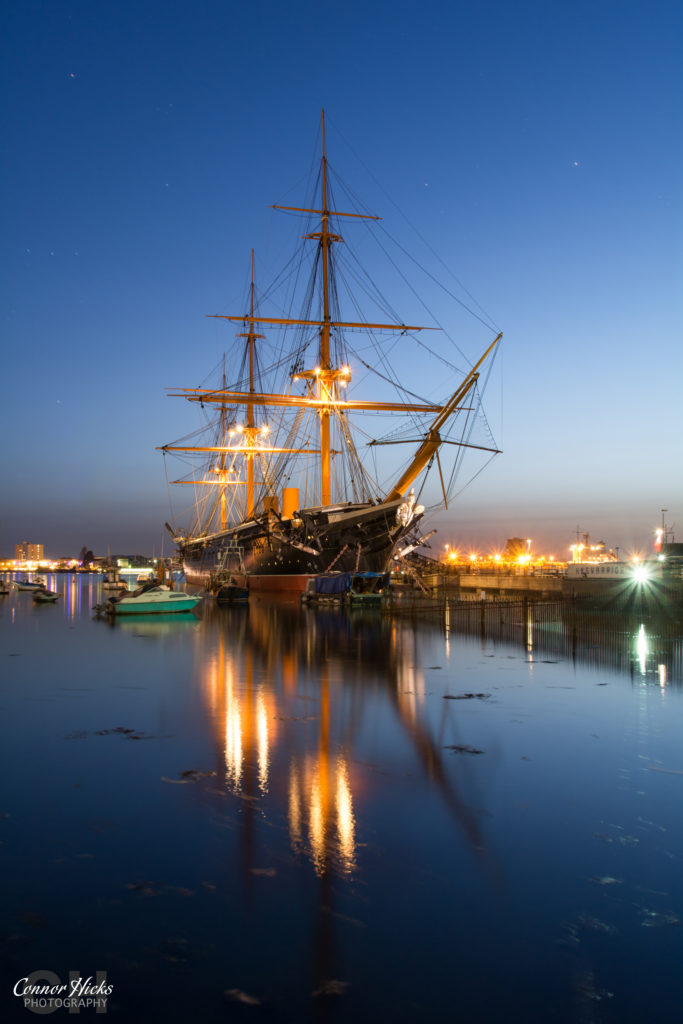 HMS Warrior Portsmouth Harbour Blue Hour 683x1024 Travel