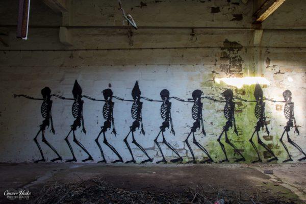 graffiti urbex skeleton art 1024x683 Skeleton Warehouse, Belgium