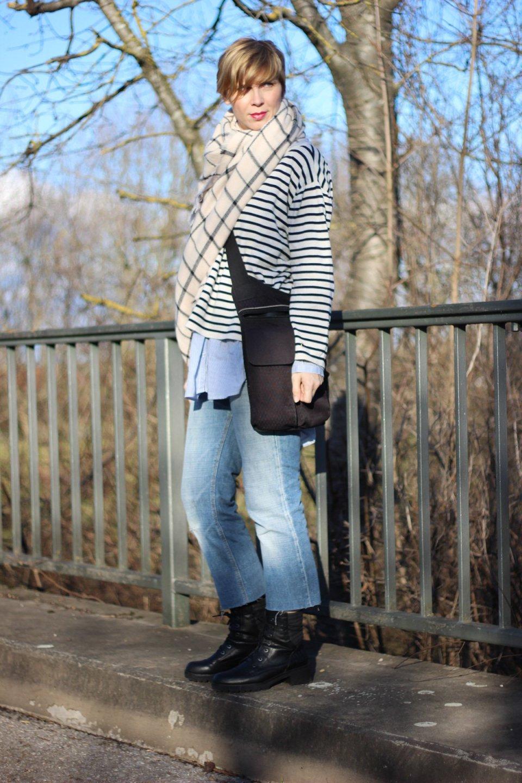 Streifenmix, Längs- und Querstreifen, neyo-Sweater, DIY-Jeans