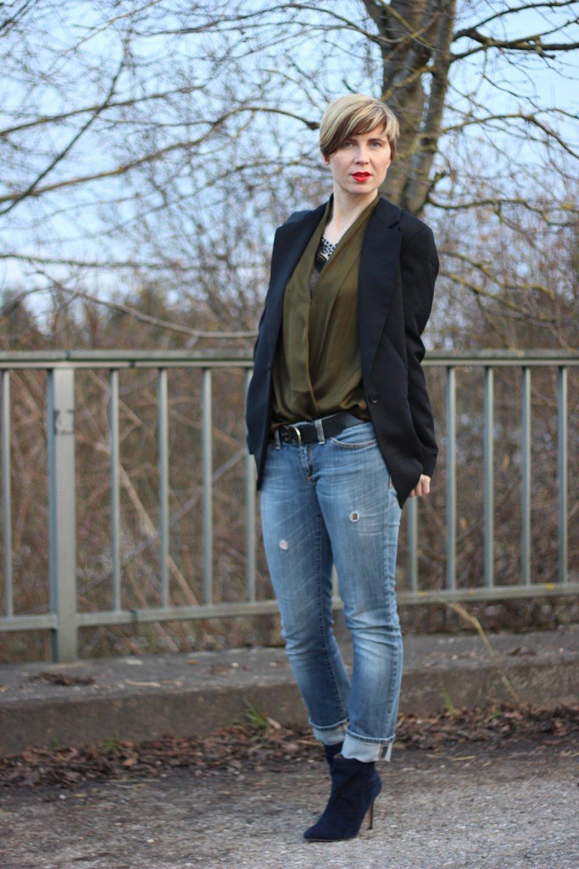 Mantel, Jeans, grau, grün, Fransentasche, Spitzenoberteil, Ponyhof