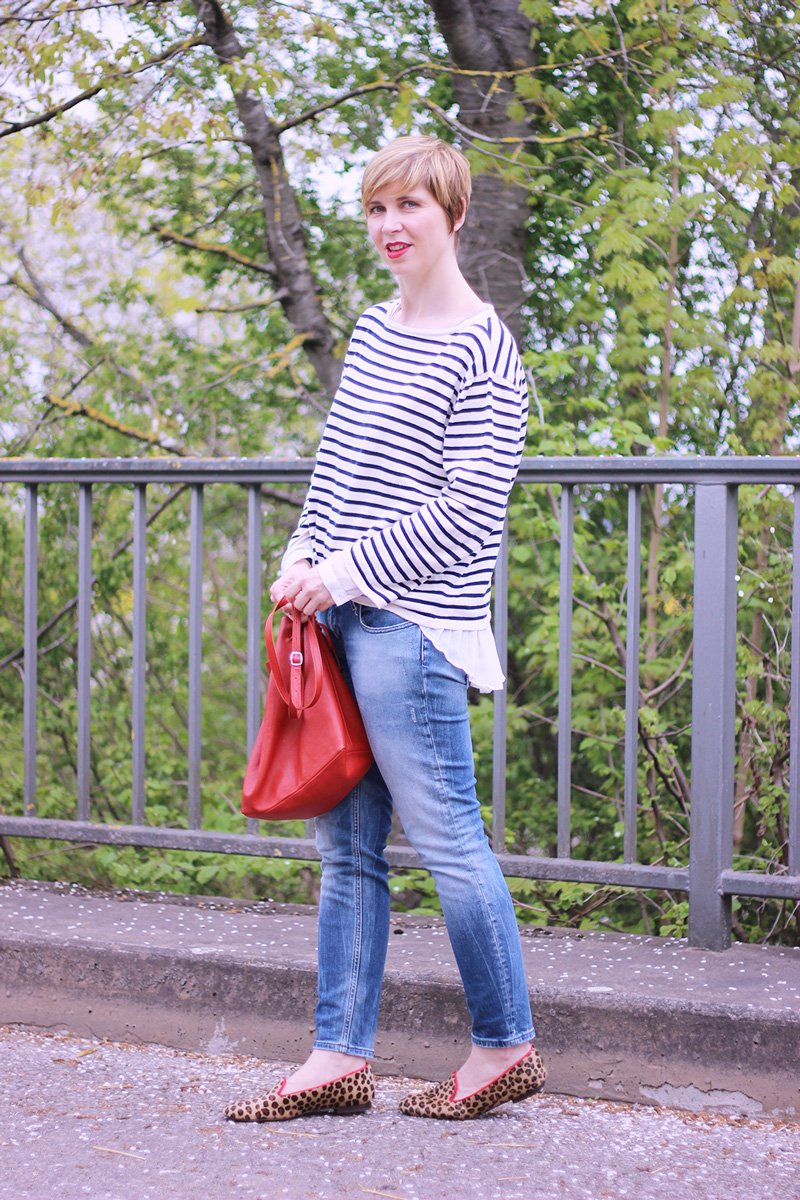 Streifen, Sweater, neyp, cropped jeans, ankle skinny, only, red, rote Tasche, Leo, Loafer, Slipper, Casual