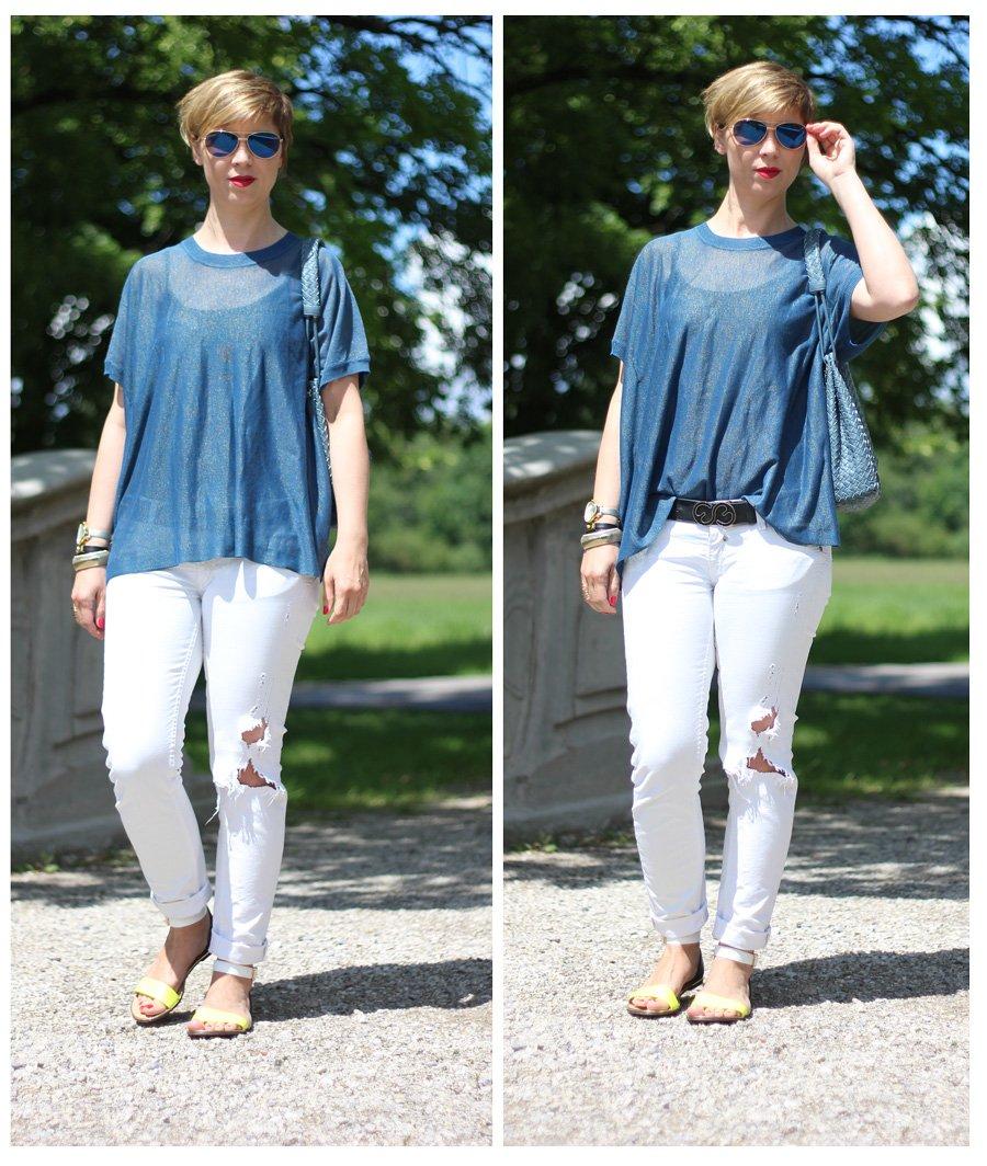 Herrlicher, Destroyed Jeans, Lurex, Blau, Oversized, Half Tuck, Sandalen, Isabell LIcardi, Sommeroutfit