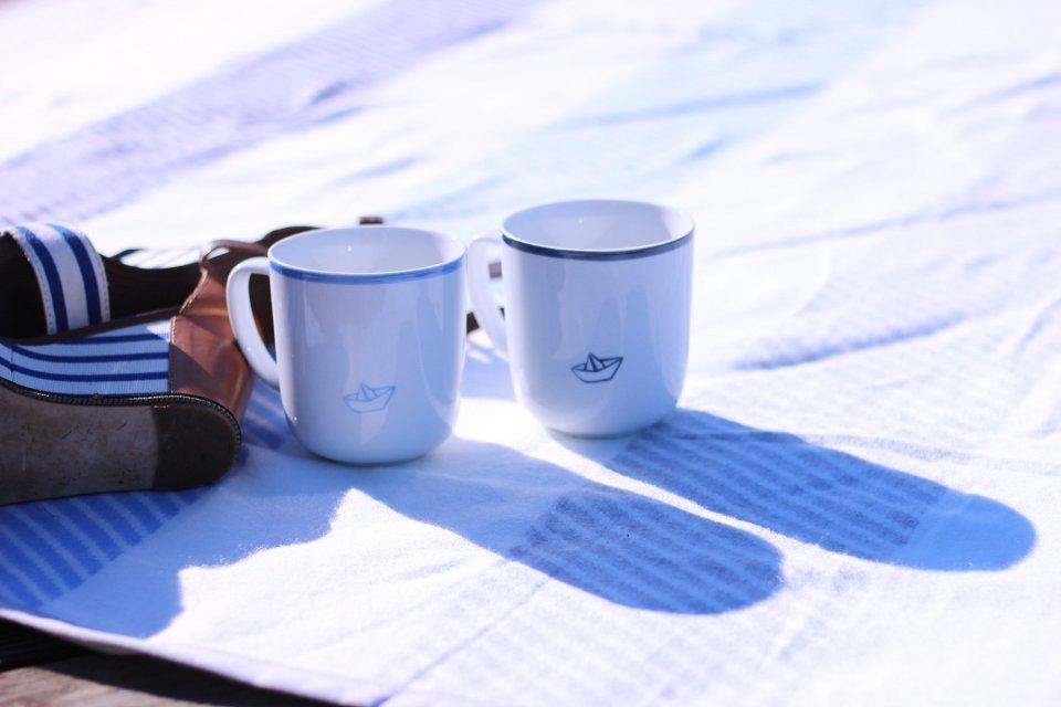 Tassen, Kaffee, maritim, Conny Doll Blog, Tchibo, blau, weiß, Wohndecke