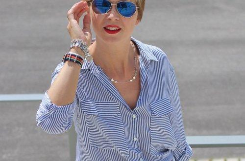 Glockenrock, blau, weiß, Streifen, Marc O'Polo, Conny Doll, Louis Vuitton, Sommerlook,