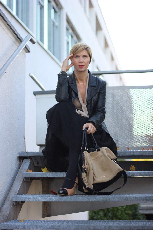 Tüllrock, tulleskirt, schwarz, beige, elegant, Strumpfhose, Schluppenshirt, Tasche,